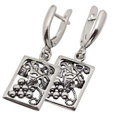 Серьги серебряные Виноград 77200