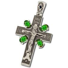 Крест Распятие c Изумрудами