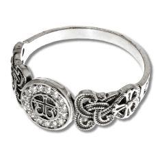 Кольцо Проросший Крест с цирконами