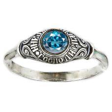 Кольцо охранное серебряное с топазом 33841