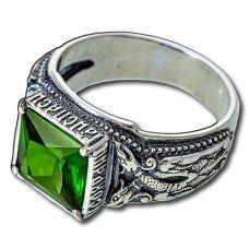 Перстень Птица Гамаюн с изумрудом