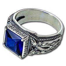 Перстень Печатка Птица Гамаюн с топазом