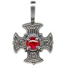 Подвеска Крест Мальтийский с фианитом