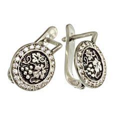 Серьги Лоза серебряные с цирконами