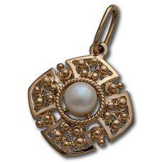 Подвеска Георгиевский крест позолоченное серебро жемчуг