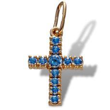 Крестик золотой «Страстной» с сапфирами